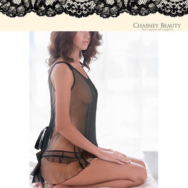 Chasney Beauty-性感彈性網紗蝴蝶結小褲(黑)5118