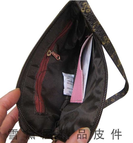 ~雪黛屋~SANDIA-POLO化妝包可放5吋手機零錢分類包手拿包進口專櫃超輕防水防刮皮革 P136-643