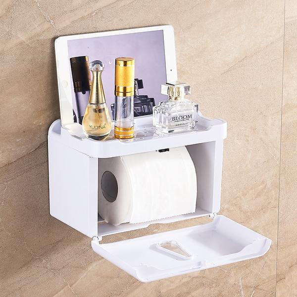 【特價促銷】衛生紙架 塑料紙巾盒 廁所紙巾架 衛生間廁所防水抽紙盒置物吸壁收納架  快速出貨