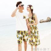 情侶套裝親子裝時尚潮復古度假沙灘裙裝洋裝長裙母女裝夏款全家  全館免運