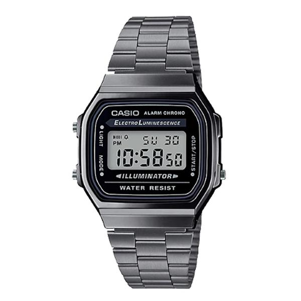CASIO 卡西歐 手錶專賣店 A168WGG-1A CASIO 復古電子錶 不鏽鋼錶帶 煙燻灰 自動月曆 生活防水