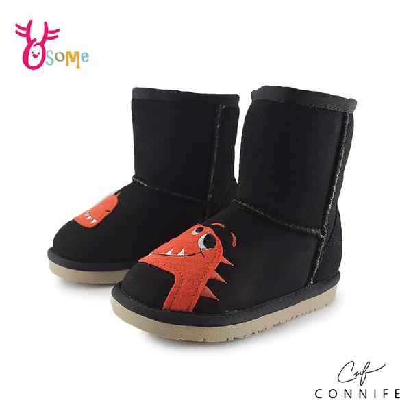 CONNIFE可妮妃 雪靴 中小童 童趣小恐龍 直筒套入式靴子 內裡厚刷毛 N8032#黑色◆OSOME奧森鞋業