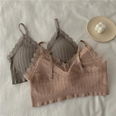 美背內衣 美背吊帶內衣女2021新款春季性感v領螺紋小胸運動背心帶胸墊裹胸