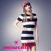 【SHOWCASE】俏麗黑白寬條紋合身針織洋裝(黑)