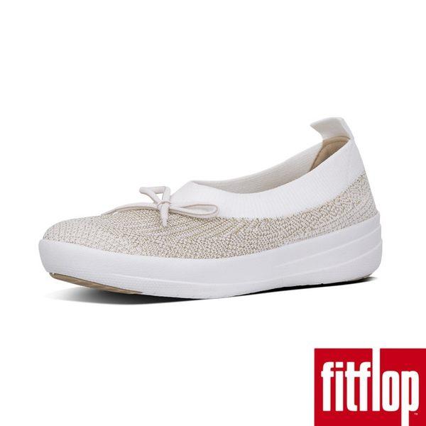 【FitFlop】UBERKNIT TM SLIP-ON BALLERINA WITH BOW -METALLIC WEAVE(金色/都會白)