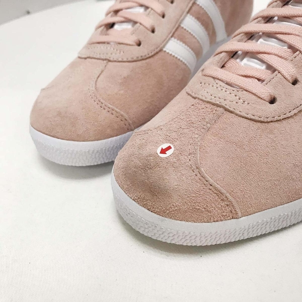 【US7-NG出清】adidas 休閒鞋 Gazelle W 粉紅 白 無原盒 左鞋頭髒汙 金標 麂皮 運動鞋女鞋【ACS】