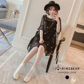 黑色洋裝--優雅氣質蕾絲圓領荷葉袖寬鬆顯瘦刺繡雪紡洋裝 (黑L-3L)-U515眼圈熊中大尺碼