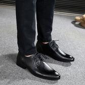 2018夏季新款皮鞋男休閒英倫尖頭韓版潮流男士商務正裝透氣鞋子 my845 【雅居屋】