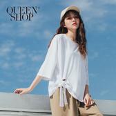 Queen Shop【01038206】下擺綁帶造型棉T 兩色售*現+預*