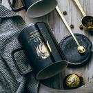 馬克杯 帶蓋勺杯子創意個性潮流陶瓷咖啡杯情侶水杯 家用