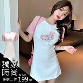 克妹Ke-Mei【AT60935】獨家,愛死了!萌系粉紅兔印花棒球袖撞色洋裝