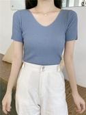 冰絲T恤女薄款針織衫V領短袖百搭霧霾藍修身顯瘦短款打底上衣夏季 童趣屋