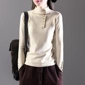 復古文藝半高領 長袖打底衫 女秋季純色內搭針織衫