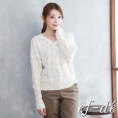 【ef-de】激安 豹紋縮口V領飛鼠袖針織衫(灰/白/藍)