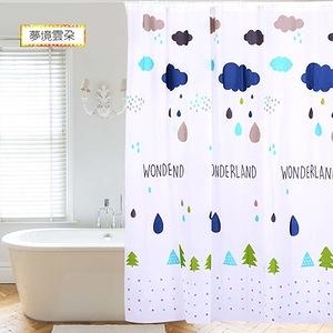 【APEX】文青風時尚防水浴簾-夢境雲朵