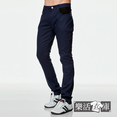 【8928】 韓系質感菱形皮標伸縮休閒長褲(深藍)● 樂活衣庫