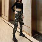 迷彩褲 法式工裝褲女秋裝顯瘦束腳帥氣嘻哈軍褲休閒夏季薄款小腳迷彩褲潮  降價兩天
