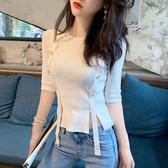 2020新款初秋女裝輕熟t恤女性感針織短袖緊身冰絲上衣網紅短款潮