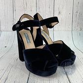 BRAND楓月 PRADA 普拉達 深藍 絨布訂製粗跟鞋 高跟鞋 厚根 粗跟 #35