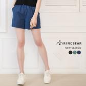 短褲--簡約百搭修身顯瘦實穿腰部抽繩運動棉麻短褲(黑.藍.綠XL-4L)-R194眼圈熊中大尺碼