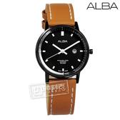 ALBA / VJ22-X268J.AH7P77X1 / 小巧百搭藍寶石水晶玻璃日期防水真皮手錶 黑x褐 32mm