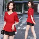 襯衣女韓版遮肚子心機收腰上衣女夏短款襯衫設計感洋氣短袖小衫潮 果果新品