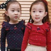 韓版《點點荷葉袖》可愛長袖上衣