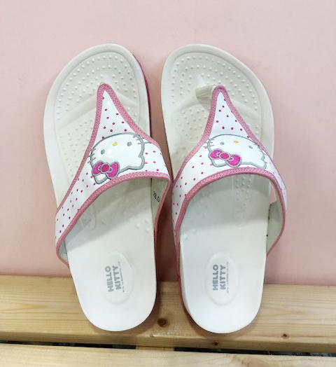 【震撼精品百貨】Hello Kitty 凱蒂貓~台灣製Hello kitty正版成人夾腳拖鞋厚底桃色