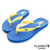 PLAYBOY 個性狂潮~簡約設計夾腳拖鞋-藍(男)