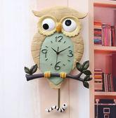 創意樹脂夜光時鐘貓頭鷹鳥臥室靜音掛鐘客廳時尚石英鐘搖擺掛鐘 DF