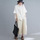 上衣 - A6919 隱隱直條 寬鬆氣質襯衫【加大F】