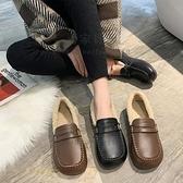 方頭媽媽鞋秋冬羊毛皮鞋加絨棉鞋中老年女鞋平底防滑寬胖【毒家貨源】