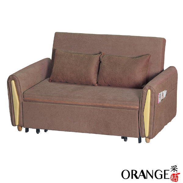 【采桔家居】巴倫  時尚咖棉麻布多功能沙發/沙發床(拉合式機能設計)