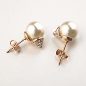 耳環 玫瑰金 925純銀鑲鑽-閃耀迷人生日情人節禮物女飾品2色73gs244【時尚巴黎】