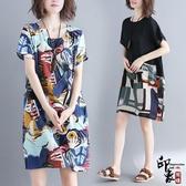 文藝加肥大尺碼女顯瘦微抽象涂鴉印花棉麻短袖連身裙‧復古‧衣閣