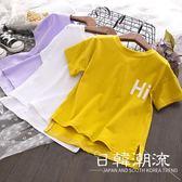 2019 女童夏季新品時尚休閑短袖T恤寬松舒適字母印花上衣4251