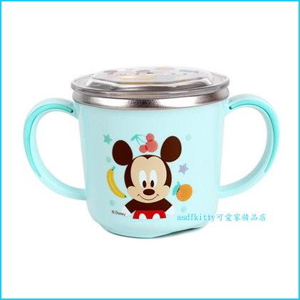 迪士尼米奇有蓋雙耳防燙304不鏽鋼杯/學習杯/馬克杯-握把與底部都有防滑-不含雙酚A-韓國製