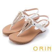 ORIN 迷人耀眼時尚 華麗水鑽金屬飾釦牛皮楔型涼鞋-白色