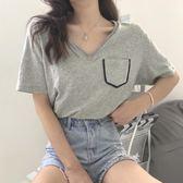 夏季新款簡約韓國chic口袋設計氣質V領舒適薄款寬鬆短袖T恤女上衣  居家物語