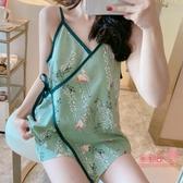 和服睡衣 女夏季棉質日系吊帶兩件套裝可愛薄款性感夏天網紅家居服