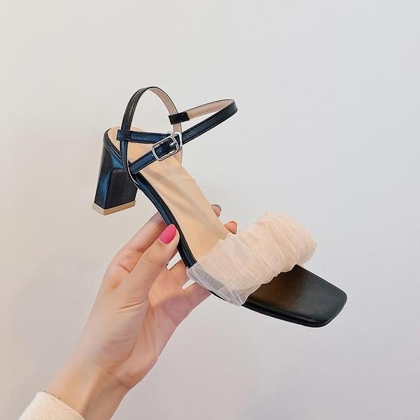 涼鞋女新款網紅夏季簡約百搭網紗一字帶露趾高跟方頭粗跟涼鞋