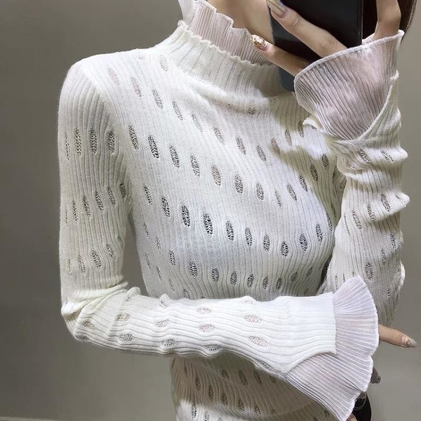歐洲站純色破洞鏤空立領針織衫女超仙美魚尾領口毛衣1入