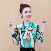 雪紡上衣 2021年新款秋裝印花長袖襯衫女士時尚氣質雪紡衫高檔上衣洋氣小衫 艾維朵