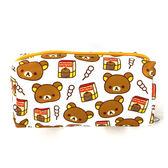 拉拉熊方型收納包 白色 Rilakkuma 懶懶熊 化妝包 旅行包 筆袋 SAN-X 日本 iaeShop