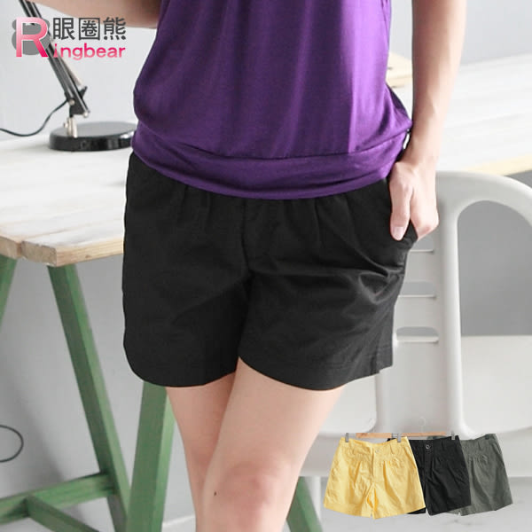 短褲--修飾魔力壓摺設計素面造型短褲(黑.綠.黃M-L)-R86眼圈熊中大尺碼