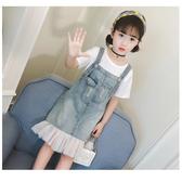 紓困振興 女童夏裝套裝新款超洋氣時髦大童裝夏季兒童短袖背帶裙兩件套 扣子小鋪