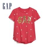 Gap女童 Logo可撥動亮片短袖T恤 587185-正紅色