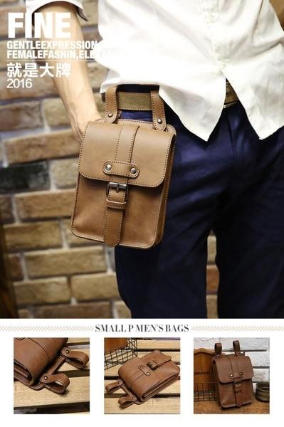 斜挎包 男包 PU跑步運動包穿皮帶腰包多功能手機包掛包休閒男士小包斜挎包