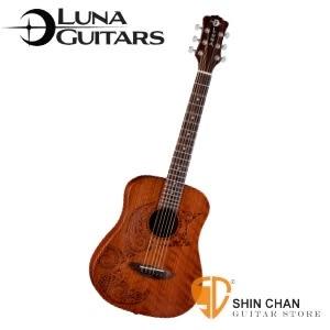 【美國品牌Luna Mini】 36吋小吉他 TATTOO 雕刻音孔 (桃花心木面板/桃花心木側背板)附贈原廠吉他袋