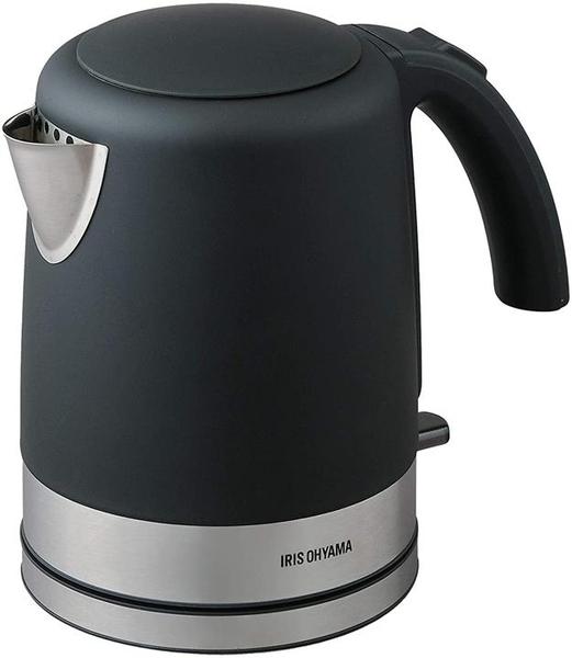【日本代購】IRIS OHYAMA 電水壺 不銹鋼 1.0升 1000毫升 搭載防空燒功能 附水位確認窗 黑色